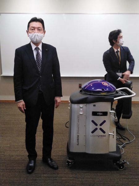 2020年10月29日(木) 健康福祉常任委員会で県立淡路医療センターの紫外線照射ロボットを視察